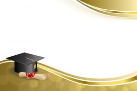 Vector bối cảnh tốt nghiệp nắp văn bằng đỏ cung hình minh họa khung vàng