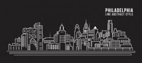 Vector xây dựng đường nghệ thuật cảnh quan thành phố Philadelphia