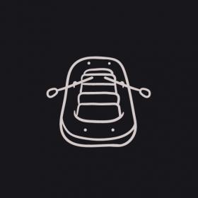 Vector phác họa thuyền trên nền đen