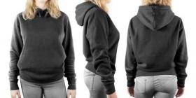 Hình ảnh phụ nữ mặc Áo phông màu đen trống, mặt trước và mặt sau