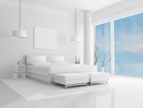 Hình ảnh phòng ngủ màu trắng tinh khiết với bầu trời xanh - render