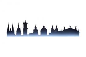 Ảnh thành phố cổ Lviv với các địa danh nổi tiếng bị cô lập trên nền trắng