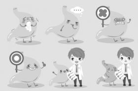 Vector phim hoạt hình bác sĩ với dạ dày trên nền màu xanh